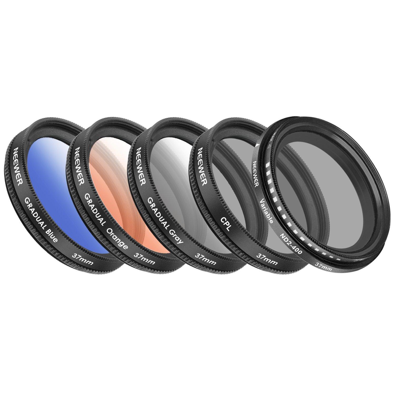 Neewer 37mm Tel/éfono M/óvil Lente Kit Accesorios,0,45X Gran Angular Lente,Lente Clip,Graduado Filtro Color Azul Naranja Gris ,Filtro Polarizador Circular CPL Filtro,Filtro ND2 400