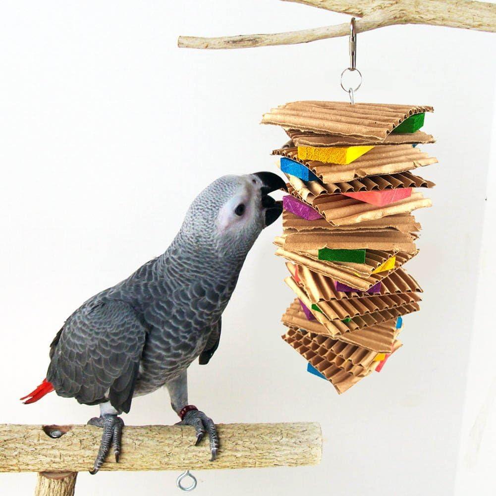 Feli546Bruce Accesorios para pájaros, Juguete Colorido para Loro, para Mascotas, pájaros, Masticar, Bloque de Madera, Jaula de cartón para Colgar