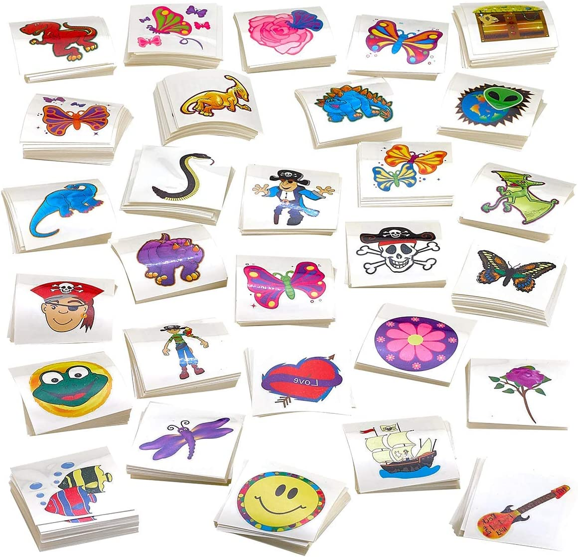 Kicko Tattoo Assortment - 720 PC Colorful Tattoos - Temporary Tattoos Assortment - Includes Dinosaur, Pirates, Animals, Flowers and etc. - Kids Party Favors