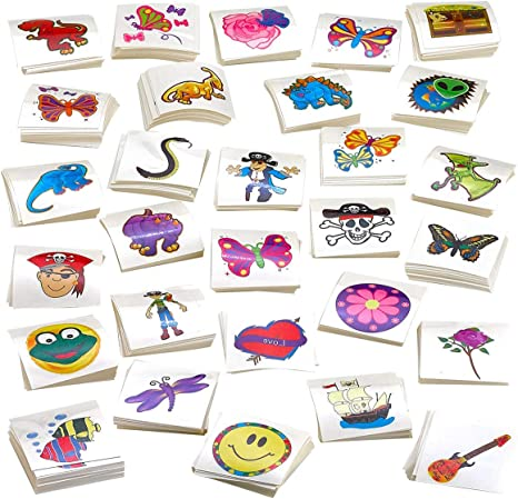 Animals Kicko Tattoo Assortment - Kids Party Favors Includes Dinosaur Flowers and etc Temporary Tattoos Assortment Pirates 720 PC Colorful Tattoos