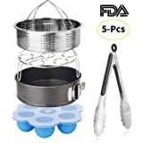 Esjay Instant Pot Accessories Set-Fits 5,6,8Qt Instant pot Pressure Cooker,5-Pcs with Steamer Basket/Egg Steamer Rack/Egg Bites Molds/Non-stick Springform Pan/Kitchen Tongs,Best Gift Idea