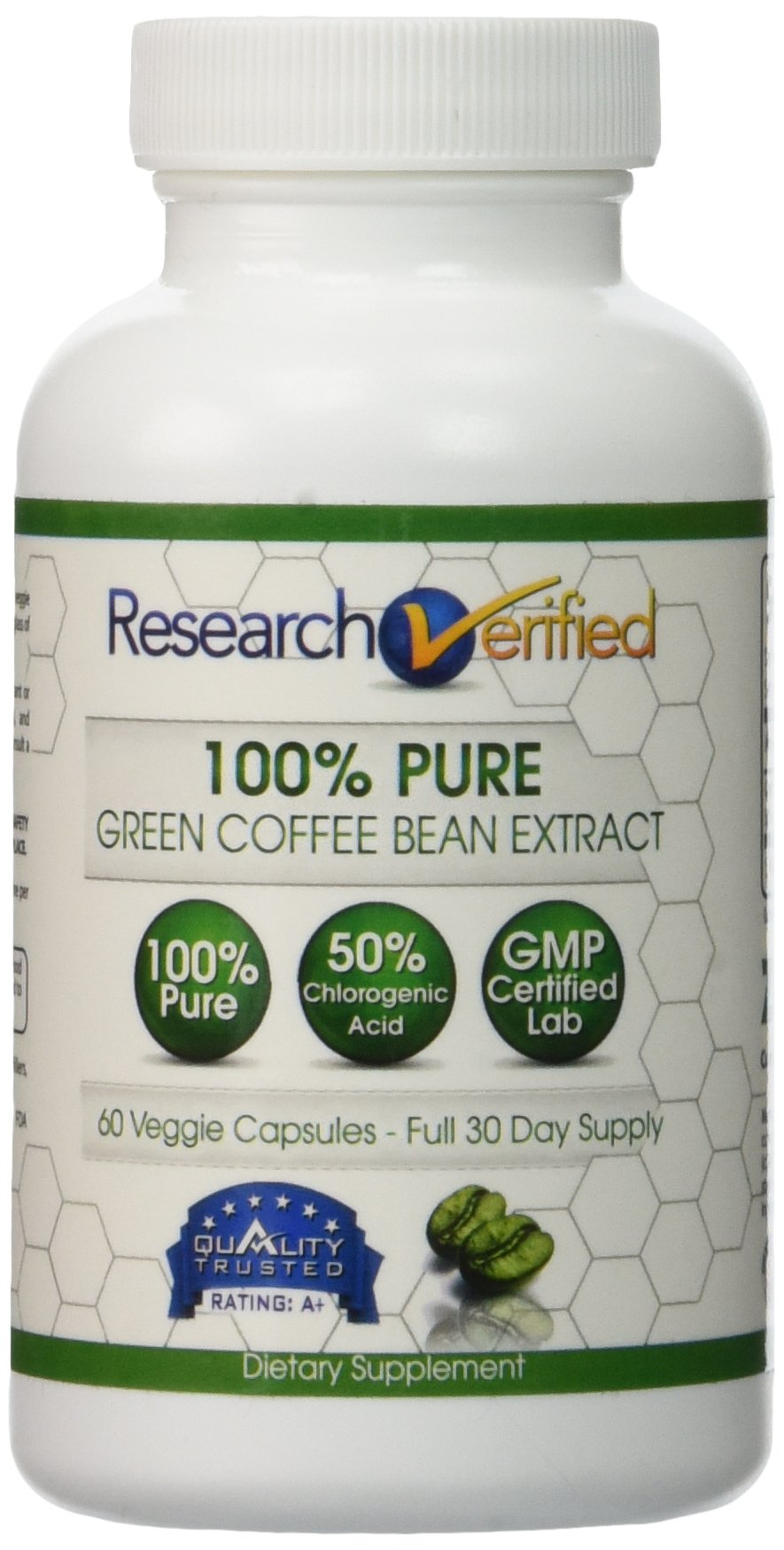 Green Coffee Bean Extract - One Month Supply - 100% Pure by Research Verified - 50% Chlorogenic Acid - 365 Day 100% Money Back Guarantee - Try Risk Free for Fast and Easy Weight Loss by Research Verified (Image #2)