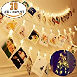 LED Photo String Lights - Dynamis 20 Photo Clips Battery Powered Fairy Twinkle Lights, Wedding Party Christmas Home Decor Lights for Hanging Photos, Cards and Artwork (9.8 Ft, Warm White, 3 Modes)