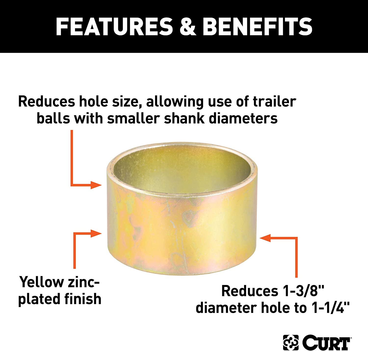 CURT 21301 Trailer Hitch Ball Hole Reducer Bushing Reduces 1-3//8-Inch Diameter to 1-1//4-Inch Stem