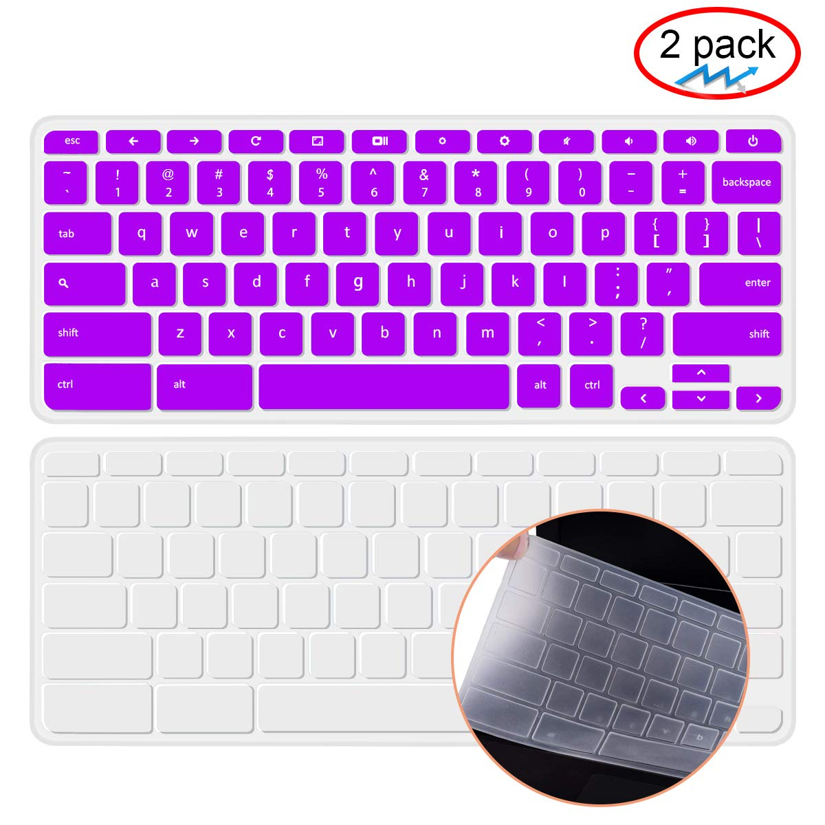 [2 Pack] lapogy Keyboard Cover Skin Compatible Acer chromebook R11 CB3-131 CB3-132,CB5-132T,CB3-131,Chromebook R 13 Keyboard Cover, CB5-312T,Chromebook 15,CB3-531 CB3-532 CB5-571 C910,Rainbow