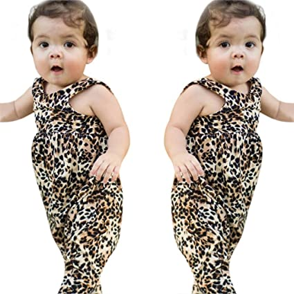 eec099683a Amazon.com: Franterd Baby Girls Leopard Rompers for Toddler Kids ...