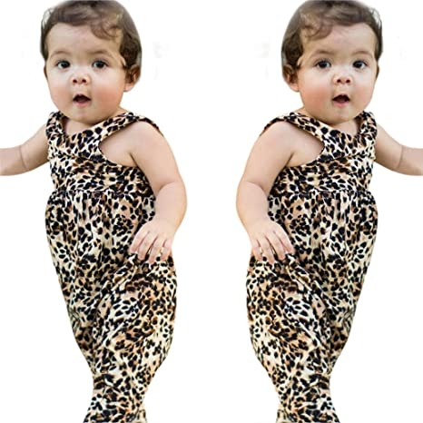 e79d018c7b13 Amazon.com  Franterd Baby Girls Leopard Rompers for Toddler Kids ...