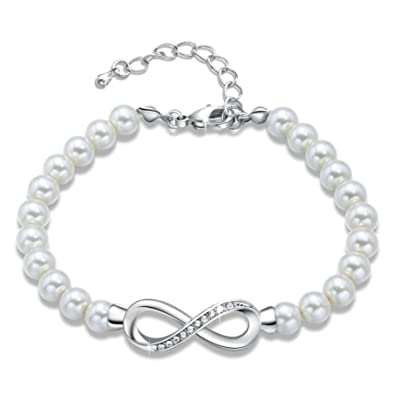 b8c5bcf51 GEORGE · SMITH Forever Elegance Adjustable Infinity Freshwater Cultured Pearl  Bracelet for Women, Crystals Jewelry