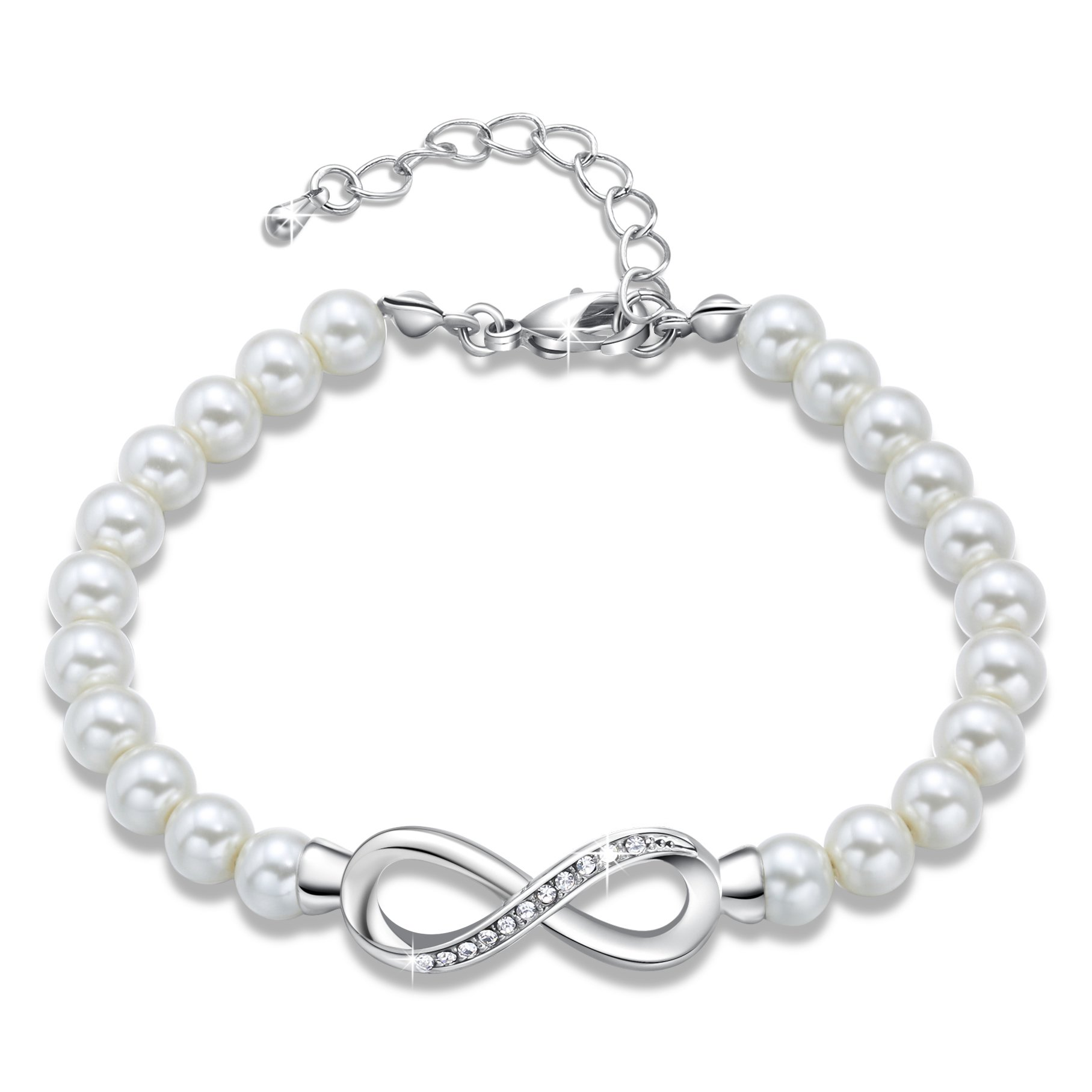 GEORGE · SMITH ''Forever Elegance''Adjustable Infinity White Pearl Bracelet for Mom Wife Grandma Wedding Anniversary Crystals Jewelry Bridesmaids Bridal Collection with Luxury Gift Box