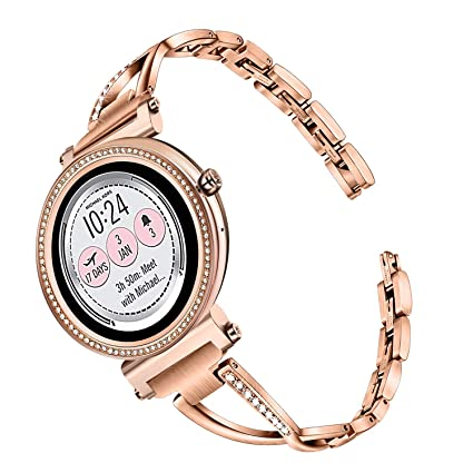 TRUMiRR Watchband for Michael Kors Womens Access Runway/Sofie/Sofie HR Touchscreen Smartwatch, 18mm Diamond & Stainless Steel Watch Band Quick ...