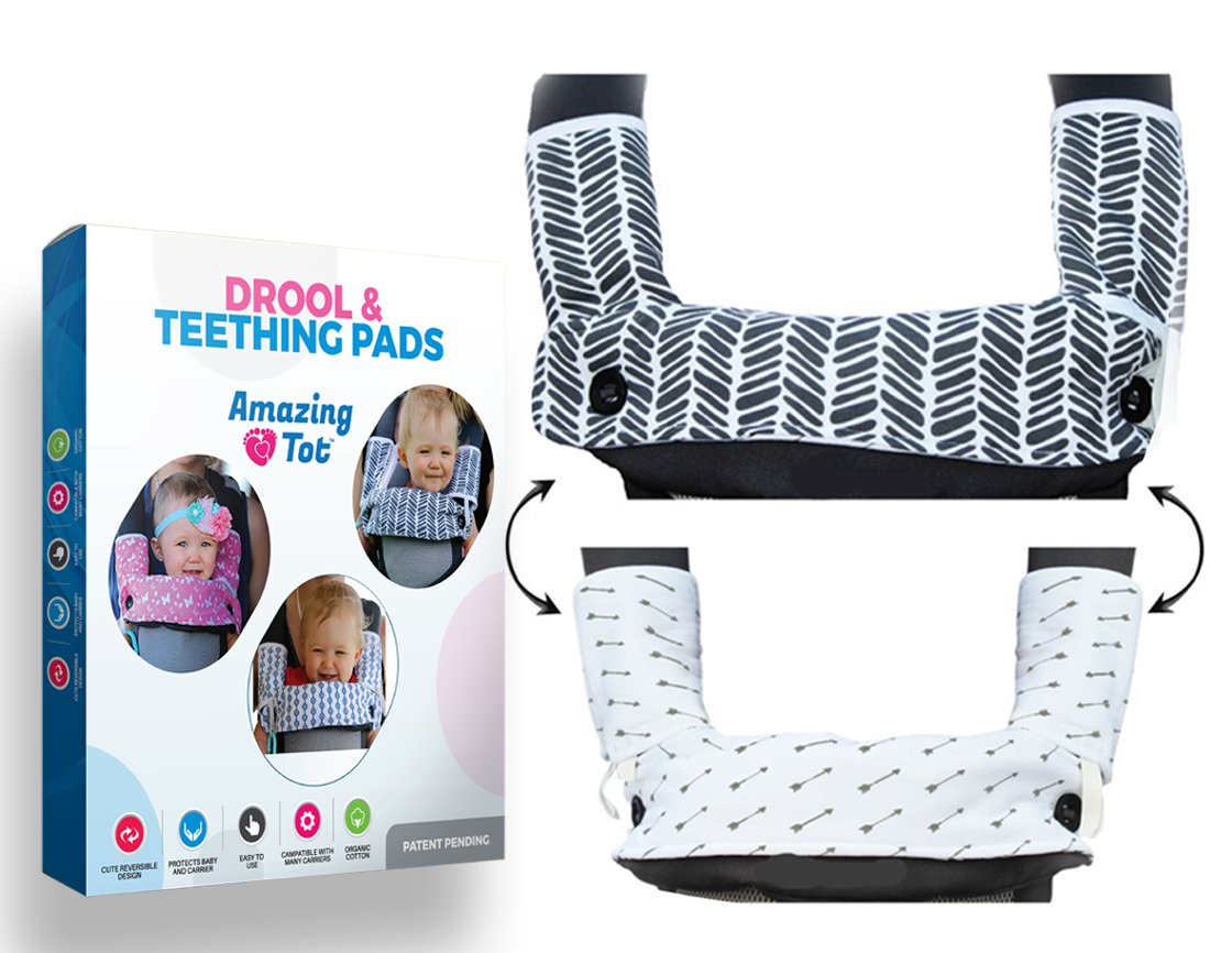 Drool and Teething Pad Reversible Organic Cotton 3-Piece set for Ergobaby Four Position 360 Baby Carrier (Grey and White Arrows) [Patent Pending]