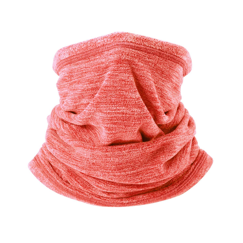 AYPOW Fleece Neck Warmer, Winter Warm Versatile Neck Warmer Extra Long Thick Neck Tube Windproof Balaclava Hood(Orange Color) - Elastic Universal Size