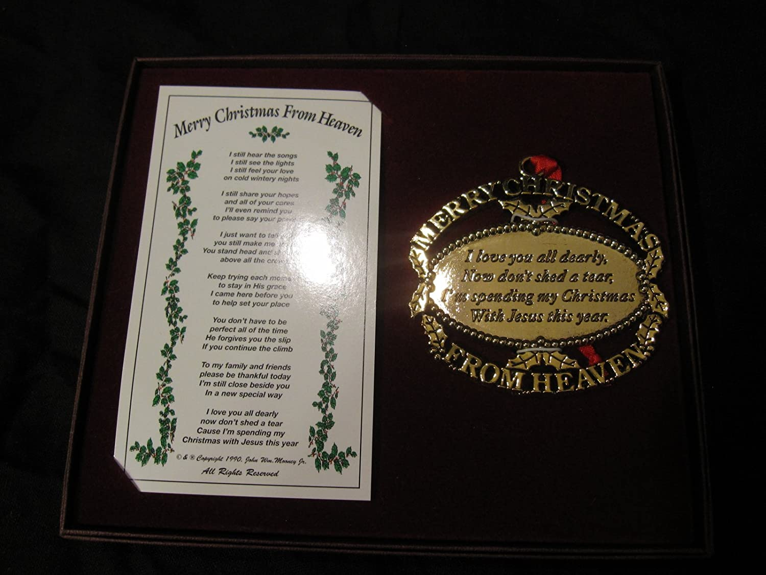 Amazon.com: Merry Christmas from Heaven Gold Keepsake Ornament ...