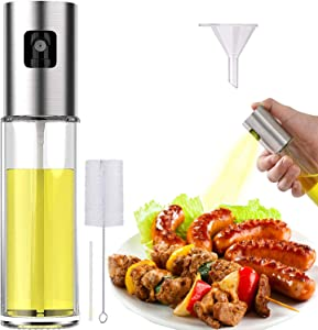 Oil Sprayer Spritzer for Cooking Air Fryer Olive Oil Mister Glass Bottle Evo Dispenser for Vinegar Vegetable Oil Mini Kitchen Gadgets for BBQ, Salad, Baking