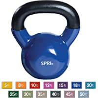 SPRI Kettlebell Weights Deluxe Cast Iron Vinyl Coated Comfort Grip Wide Handle Color Coded Kettlebell Weight Set
