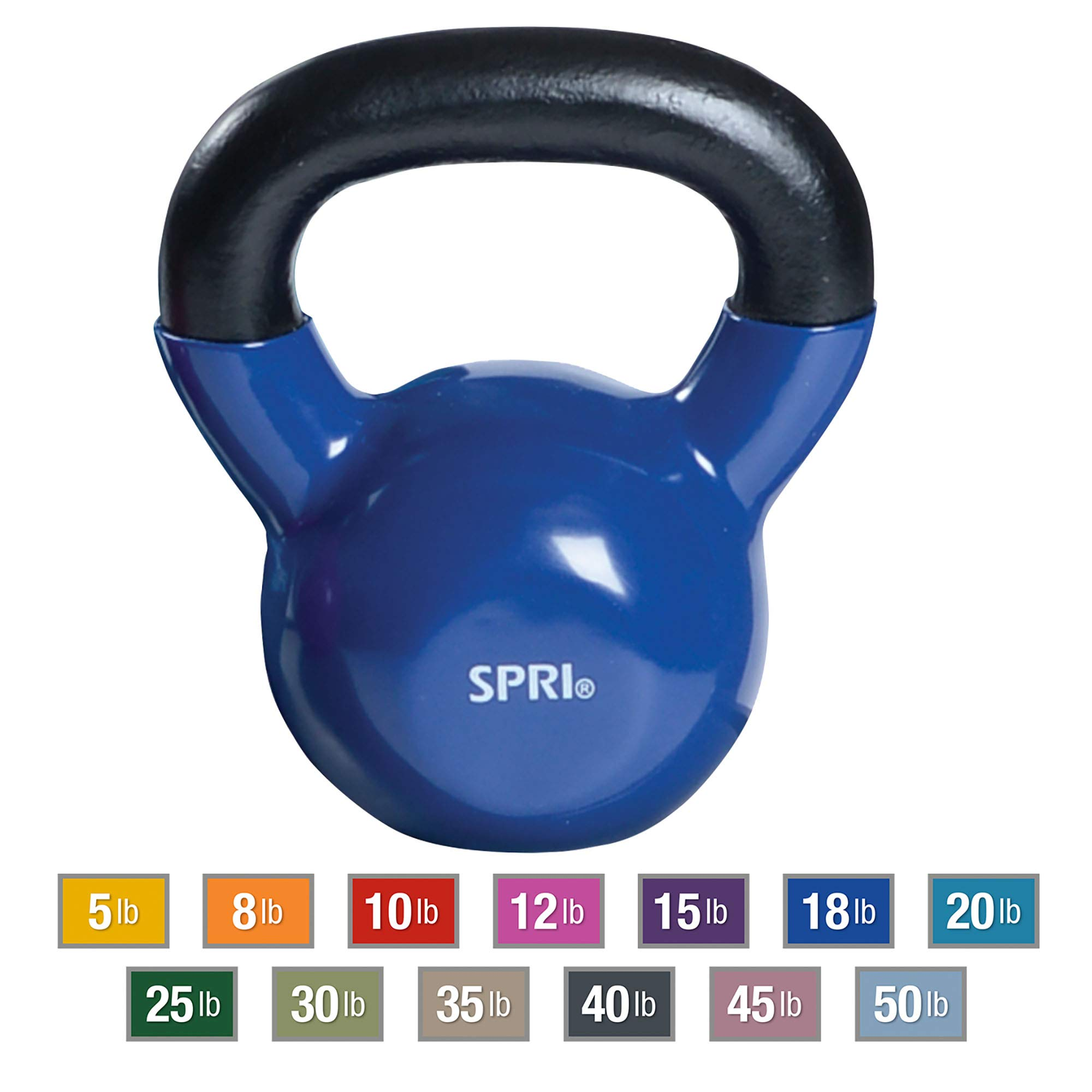 SPRI Kettlebell Weights Deluxe Cast Iron Vinyl Coated Comfort Grip Wide Handle Color Coded Kettlebell Weight Set (Blue, 18-Pound)