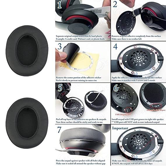 1 par almohadillas para auriculares de repuesto para beats by dr dre Studio 2.0 Auriculares de audio inalámbrico: Amazon.es: Electrónica