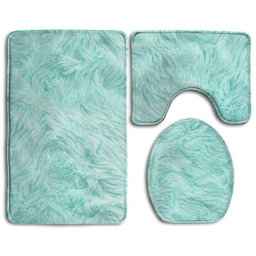 Bath Mat,3 Piece Bathroom Rug Set,Mint Green Flannel Non Slip Toilet Seat Cover Set,Large Contour Mat,Lid Cover For Men/Women by FionaLin