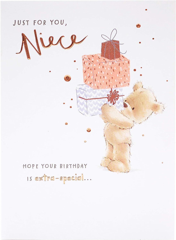 """NIECE HAPPY BIRTHDAY GREETING CARD 9"""" BY 6"""" CUTE BEAR IN HAMMOCK *FREE P+P*"""
