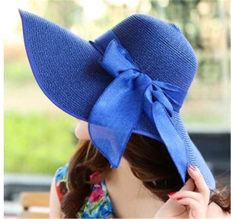 Miki Da新しい韓国ファッションヴィンテージ帽子Lady夏ワイドに沿ってBowバイザーSun Beach Straw Hat Mujerキャップキャンディカラー太陽帽子の女性  サファイア B075CXB6JS