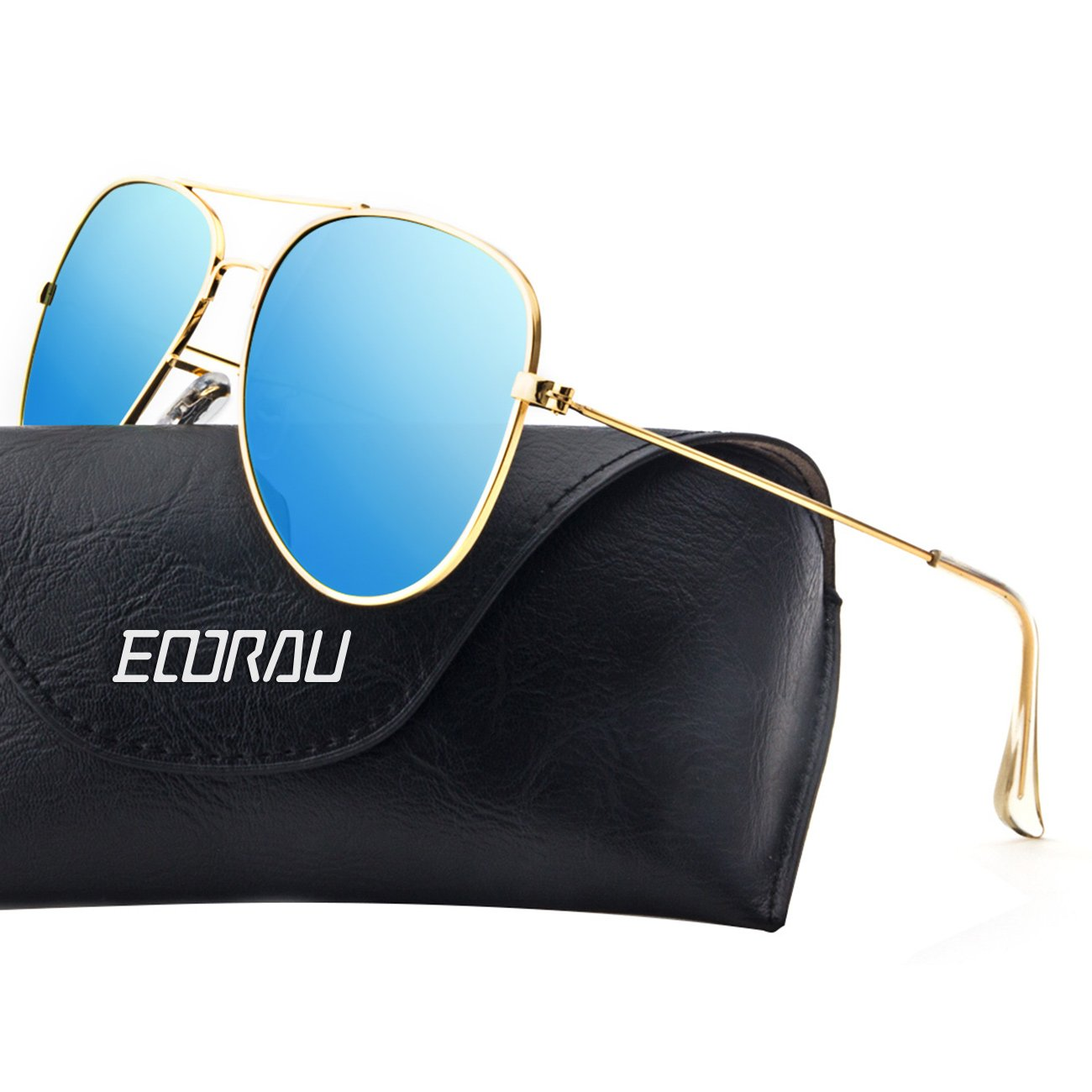 EOORAU Womens Aviator Sunglasses Polarized Mirrored for Mens Travel,Drive,Fishing Sun GlassesUV-400 (Blue lens&Gold frame)