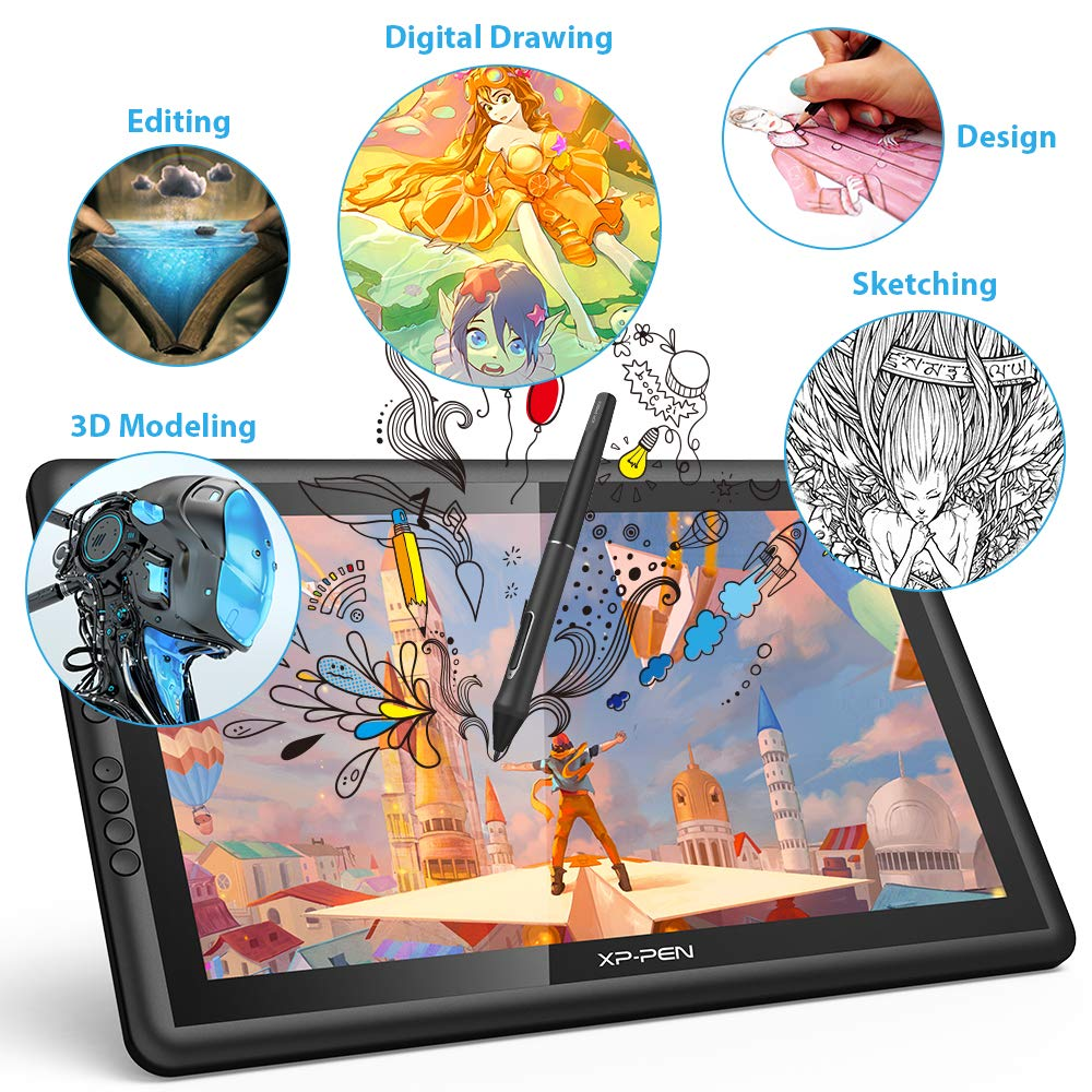 8192 levels pressure XP-Pen Artist16 Pro 15.6 Inch IPS Drawing Monitor Pen Display with Shortcut Keys and Adjustable Stand