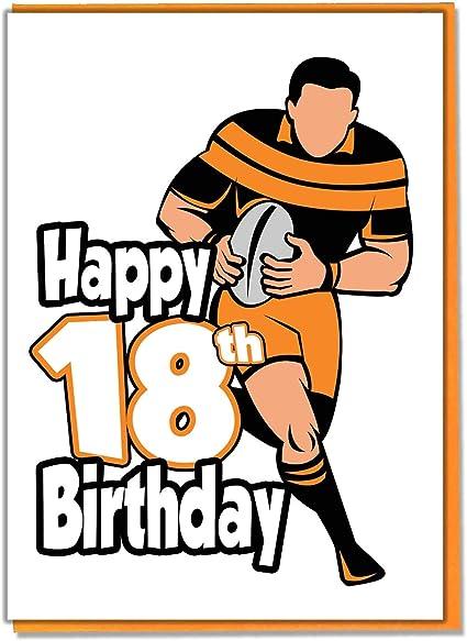 Carte D Anniversaire 18 Ans Silhouette De Rugby Adolescent Garcon Fils Petit Fils Ami Frere Amazon Fr Fournitures De Bureau