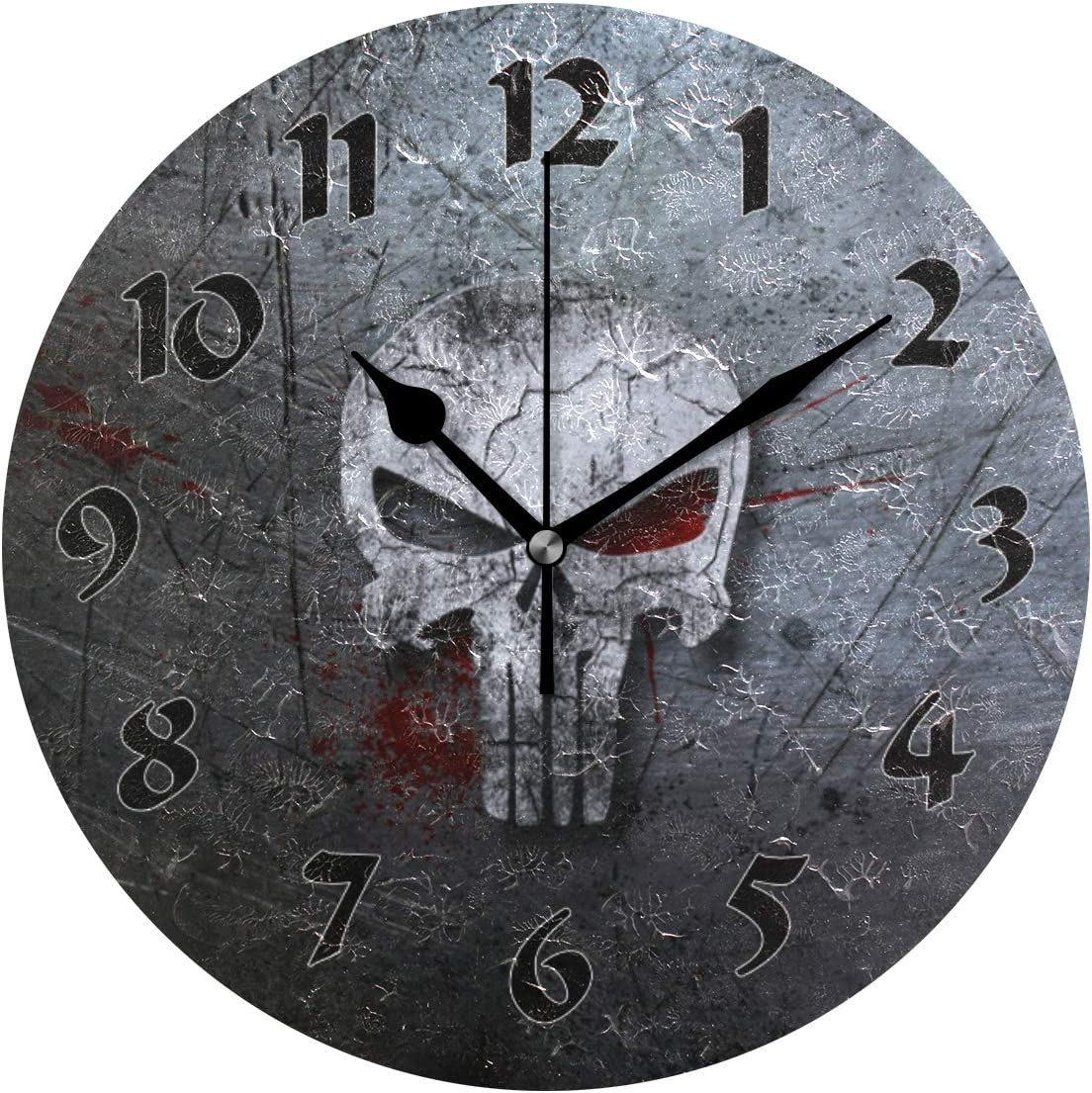 Cute Arabic Numeral Design Skull Non Ticking Round Wall Clock Battery Operated Acrylic Oil Painting Home Office School Decor Dual Use Art Clock 9.45 Inch