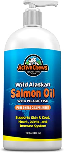 Wild Alaskan Salmon Oil for Dogs – Natural Fish Oil for Dogs Omega 3 for Dogs – Dog Skin and Coat Supplements, DHA EPA Supports Hip and Joint, Heart, Dog Immune Health Itch Relief for Dogs -16oz