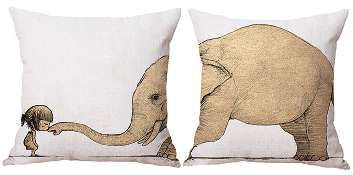 LOLOAJOY 2PCS 18inch Animal Cushion Cover Linen Square Pillowcase Elephant