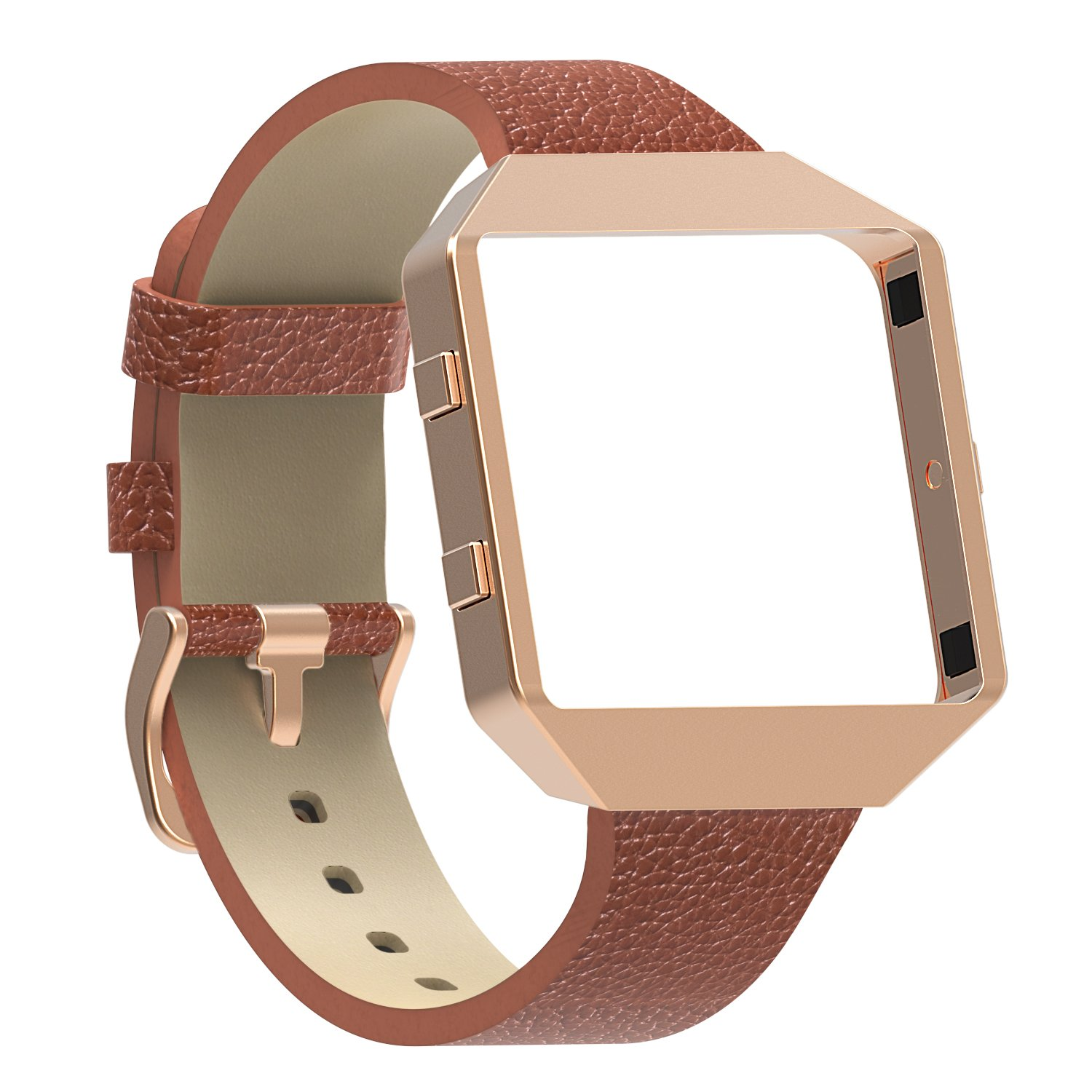 Austrake for Fitbit Blaze Bands with New Metal Frame, Replacement Leather Slim Straps with Stainless Steel Buckle for Fitbit Blaze Strap for Women Men,Brown