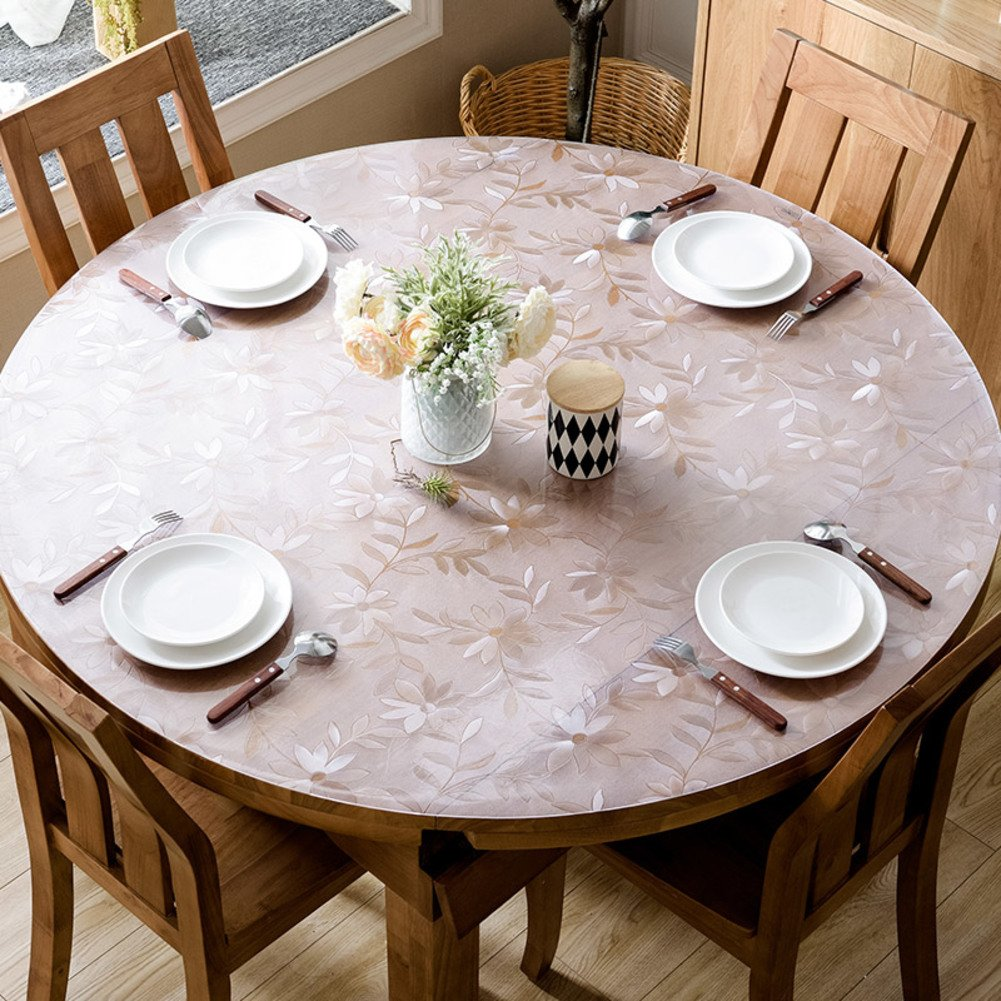 XKQWAN roundtable.Tablecloth Waterproof Oil-proof Disposable Round dining table Cloth soft glass Pad Clear Frosted Table cloth-C diameter60cm(24inch)