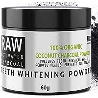 RAW - Carbón Activado de Cáscara de Coco 100% Orgánico - Blanqueador Dental - Efectivo para Blanqueamiento de Dientes - Quitar Manchas y Placa de los Dientes - By QVENE (60g)