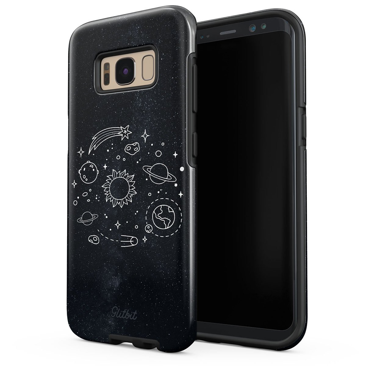 Glitbit Samsung Galaxy S8 Case Cute Solar System Galaxy Stars Planet Sun Earth Moon Universe Cosmic Cosmos Space Tumblr Heavy Duty Shockproof Dual Layer Hard Shell + Silicone Protective Cover