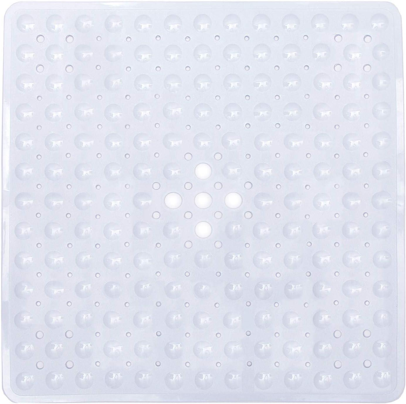 Ruiuzi - Alfombrilla de baño antideslizante lavable a máquina, antibacteriana, BPA, látex, sin ftalatos, alfombra de baño cuadrada con orificios de drenaje, ventosas, caucho, transparente, 53cm*53cm