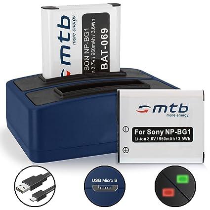 2 Baterías + Cargador Doble (USB) para Sony NP-BG1 NP-FG1 / Cyber ...