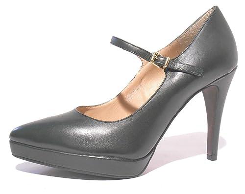 scarpe cinturino donna Premi verde tacco decoltè Bruno scuro pelle OqSZUgP
