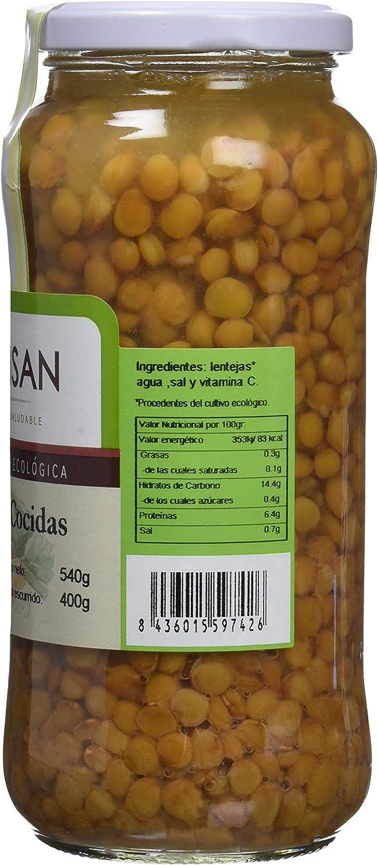 Bionsan Lentejas Cocidas Ecológicas - 4 Botes de 400 gr - Total : 1600 gr