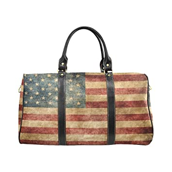Retro USA American Flag Large Travel Duffel Bag Waterproof Weekend Bag with  Strap 6d88ce7101a