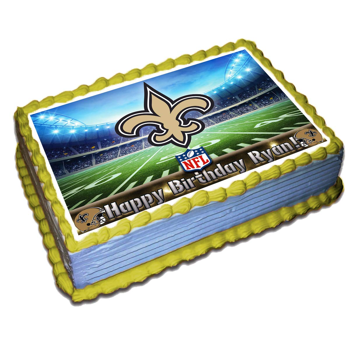 Wondrous New Orleans Saints Nfl Personalized Cake Topper Icing Sugar Paper Personalised Birthday Cards Veneteletsinfo