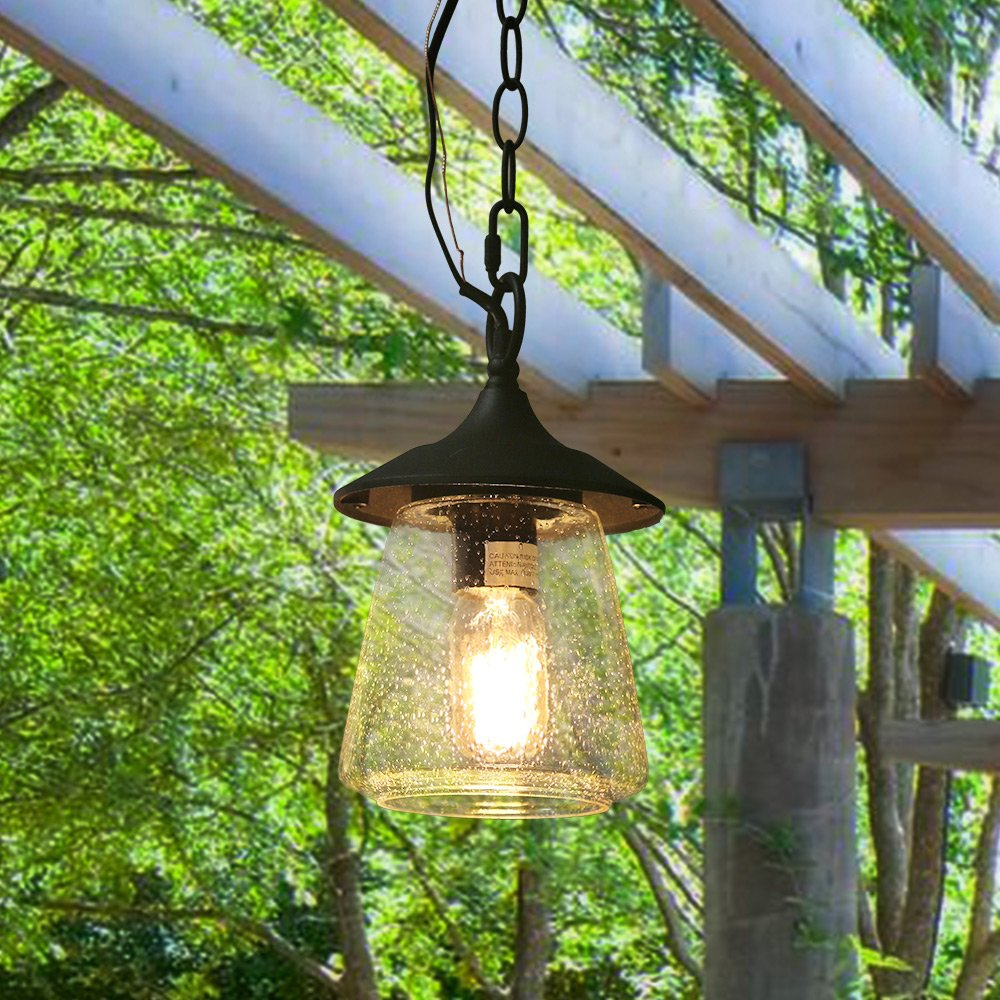 Log Barn 1 Outdoor Lantern Pendant Painted Black Metal with Clear Bubbled Glass Globe 9.4'' Lamp, Hanging Porch Light Fixture by LOG BARN