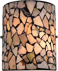 Wall Sconces Tiffany, Artzone Handcrafted Tiffany Wall Sconce, Tiffany Wall Sconces, Enhance Home Office Living Space with Tiffany Wall Lamp - Natural Stone