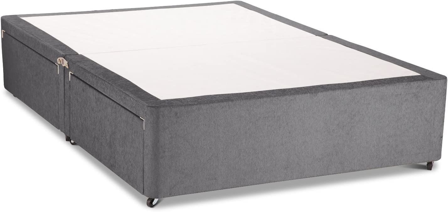 Charcoal Suede Divan Bed Base 3ft Single No Drawers