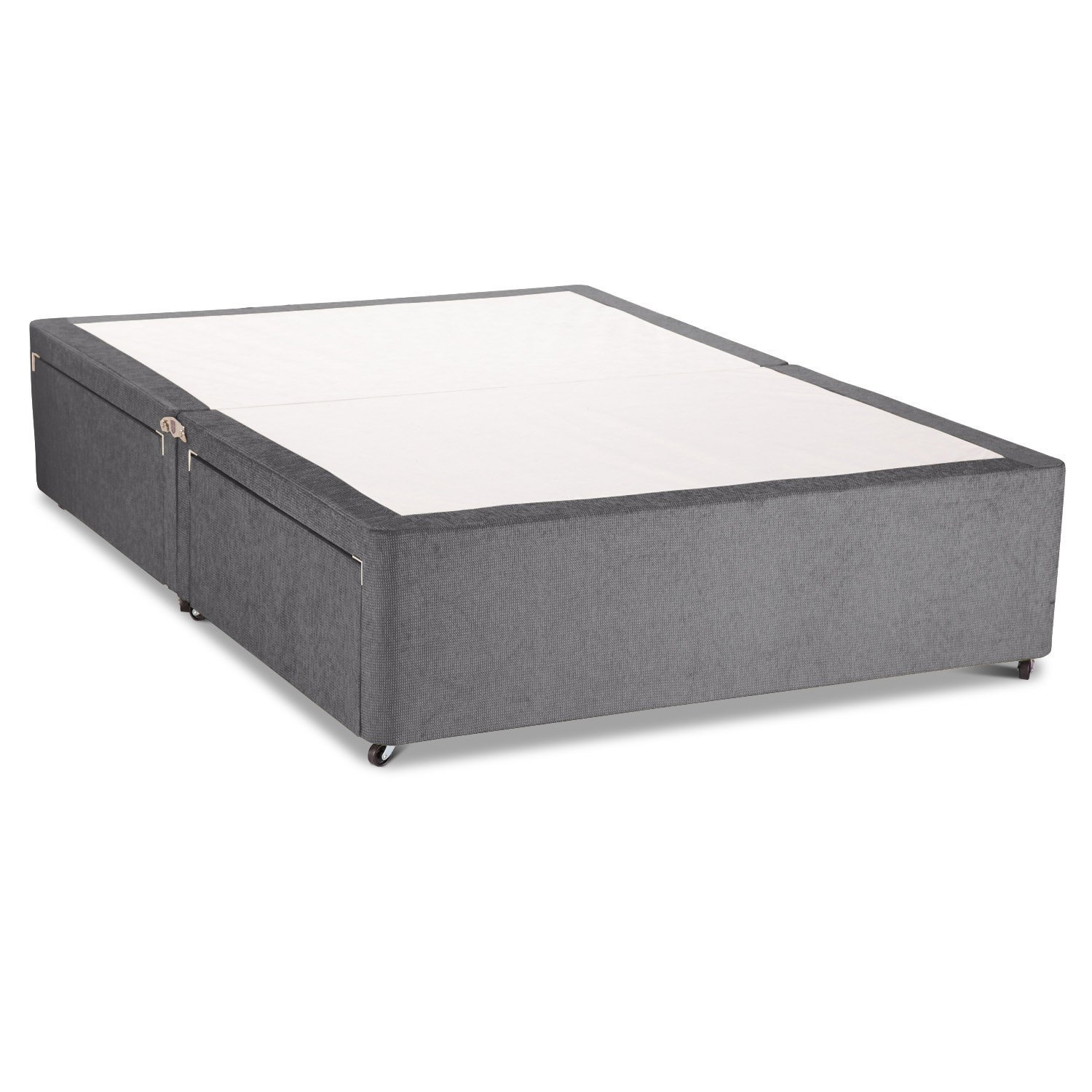 Chenille Fabric Divan Bed Base - Underbed Drawers Storage - 4FT6 Double Size -Choice of 13 Colours - 2 Drawers (CHARCOAL)