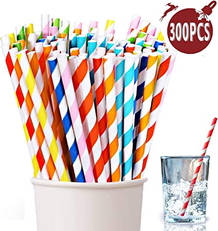 40 Straws Biodegradable Available in Thirty Colors Colorful Paper Straws