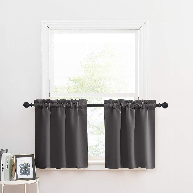 Kitchen Cafe Bathroom Short Blackout Window Curtain Panel Valance 132x46cm