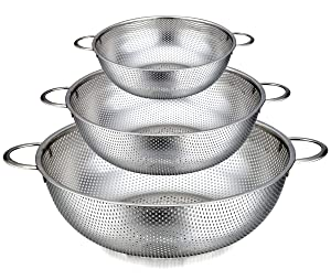 TeamFar Colander Set of 3, Stainless Steel Perforated Metal Colander Strainer with Handles for Spaghetti, Pasta, Berry, Rust Free & Dishwasher Safe - 1/3/5-quart