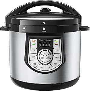 12-in-1 Pressure Cooker 6 Qt Multi-use Programmable Pressure Cooker, Slow Cooker, Rice Cooker, Yogurt Maker, Cake Maker, Egg Cooker, Saute Steamer, Warmer, and Sterilizer,CY601 by Elechomes