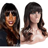 ZANA 100% Brazilian Remy Human Hair Lace Wigs Body Wave Full Lace Front Wigs with Bangs