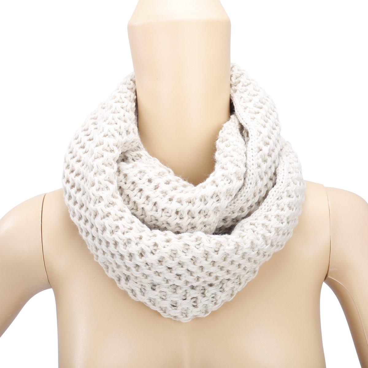 Eforstore Unisex Winter Warm Knitted Thicken Hollow Out Neckerchief Knit Infinity Scarf Christmas New Year Birthday Gift For Your Family and Friends Women Men (Beige)